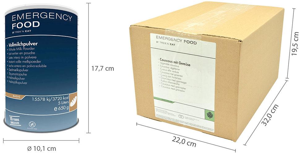 Emergency Food Dose und Karton Außenmaße